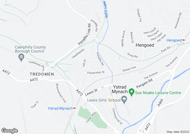 Map for George Street, Ystrad Mynach, HENGOED, Caerphilly
