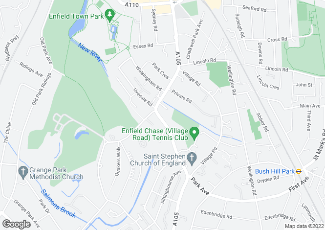Map for Park Avenue, Bush Hill Park