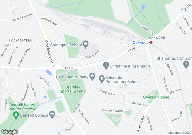 Map for Bramley Road, Oakwood