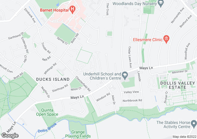 Map for Darlands Drive, Barnet, Herts, EN5