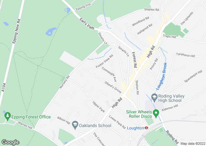 Map for Connaught Avenue, Loughton