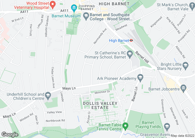 Map for Milton Avenue, Barnet, Hertfordshire, EN5 2EU