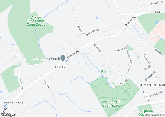 Map for Hedgerow Lane, Arkley