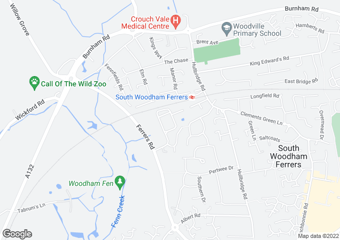 Map for Haltwhistle Road, South Woodham Ferrers, Essex, CM3 5ZA