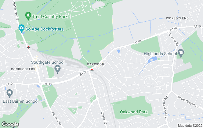 Map for Meadway Estates, Oakwood