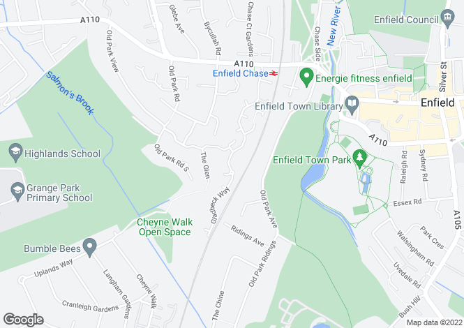 Map for Gladbeck Way, ENFIELD