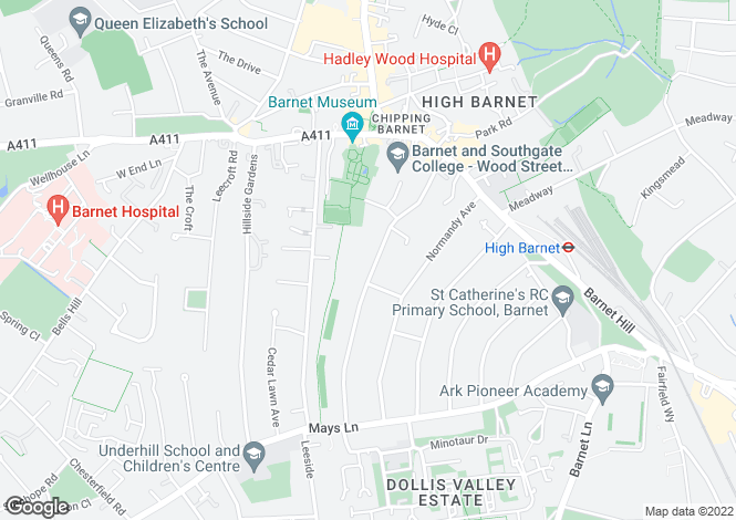 Map for FITZJOHN AVE BARNET