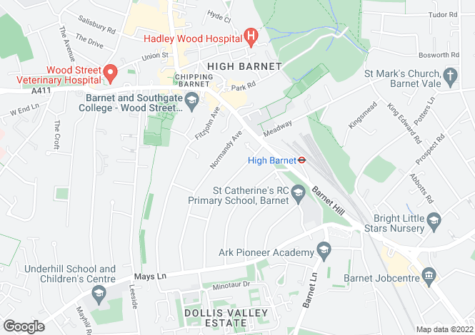 Map for Bedford Avenue, High Barnet, Hertfordshire