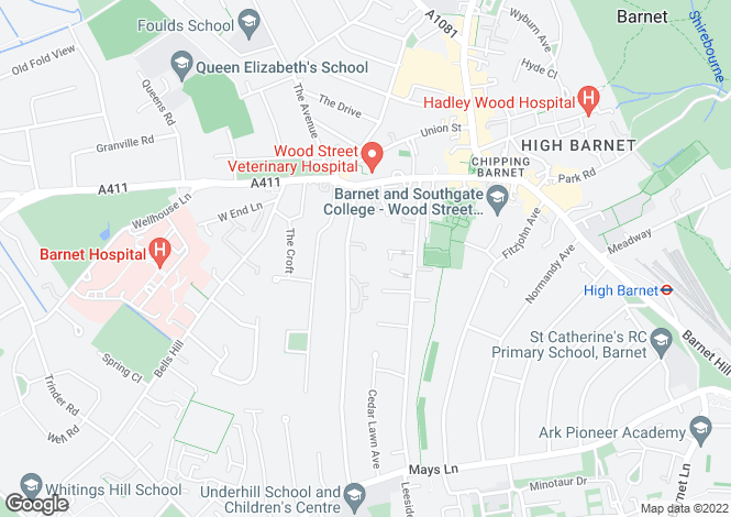 Map for Scholars Close, Barnet