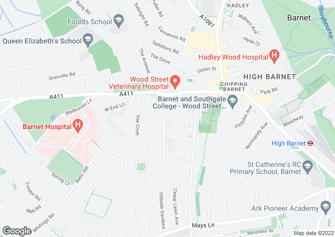 Map for Hillside Gardens, Barnet, Herts, EN5
