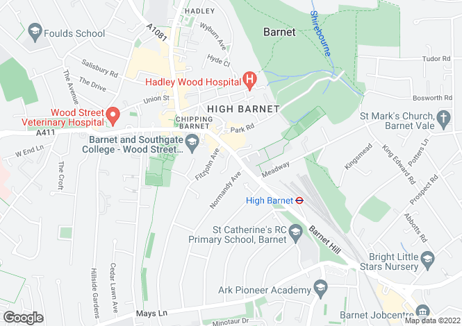 Map for High Street, High Barnet, Barnet, Hertfordshire, EN5