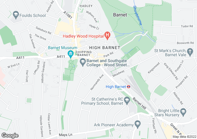 Map for High Street, High Barnet, Hertfordshire, EN5