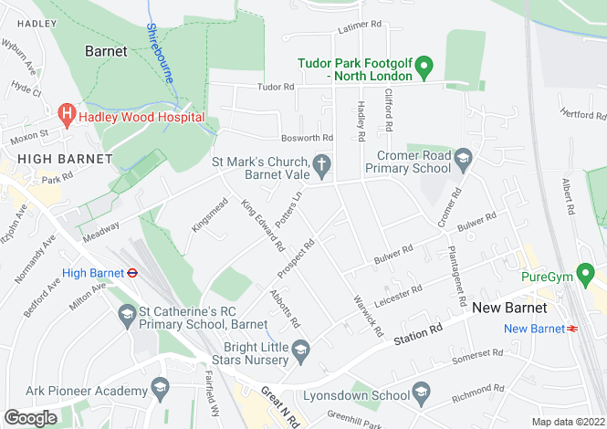 Map for 40a Warwick Road, New Barnet EN5 5EH