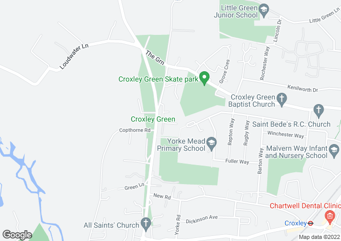 Map for Parrotts Close, Croxley Green, Hertfordshire, WD3