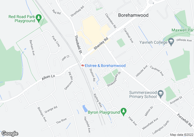 Map for Dunnock Close, Borehamwood, Herts