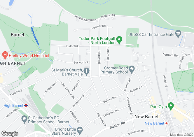 Map for Hadley Road, Barnet, Herts, EN5