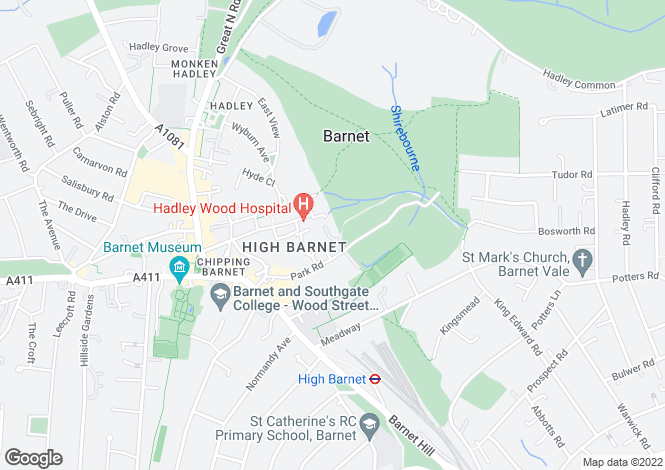 Map for Parkview, Snowberry Close, High Barnet