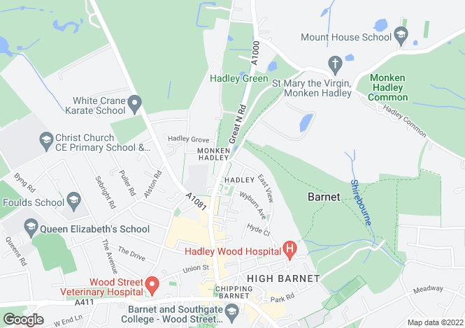 Map for Hadley Green Road, Barnet, EN5