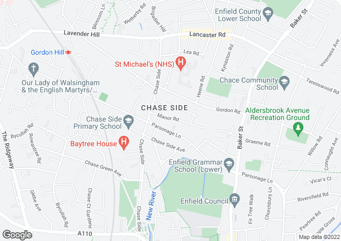Map for MANOR ROAD, ENFIELD, EN2