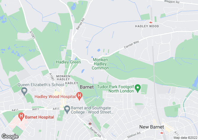 Map for Hadley Common, Barnet, Herts, EN5