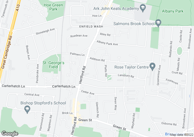 Map for Salisbury Road Enfield