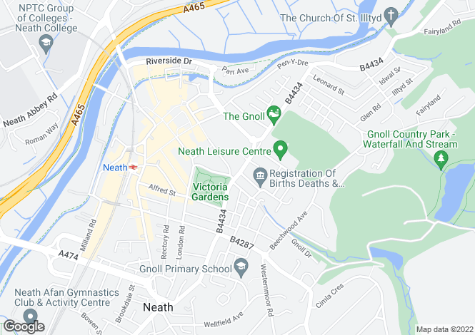 Map for 4-8 Gnoll Park Road, Neath