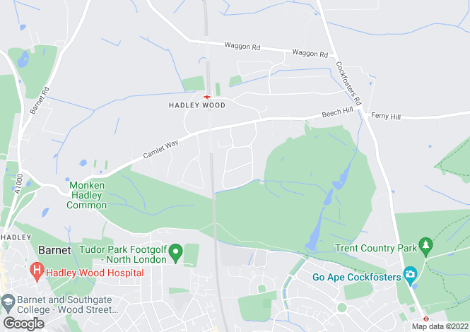 Map for Hadley Wood, Barnet, Hertfordshire, EN4