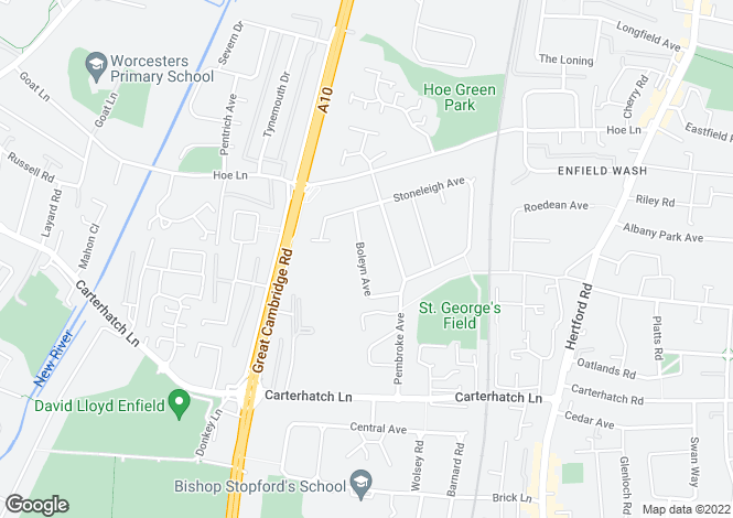 Map for Boleyn Avenue, Enfield EN1