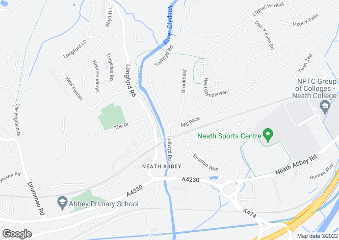 Map for Taillwyd Road, Neath Abbey, Neath