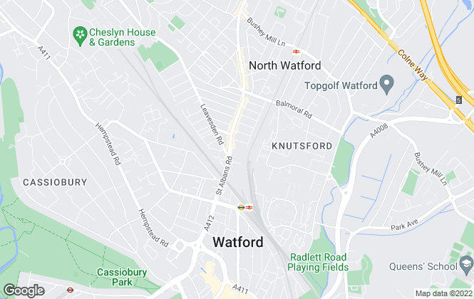Map for Watford Estates, Watford