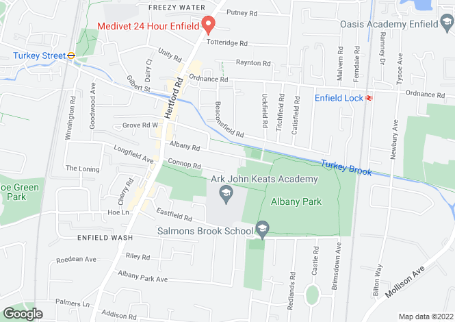 Map for Albany Road, Enfield, Middlesex