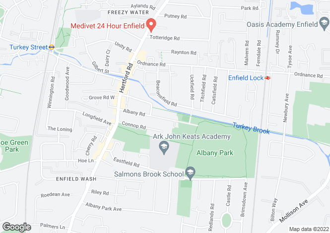Map for Albany Road, Enfield