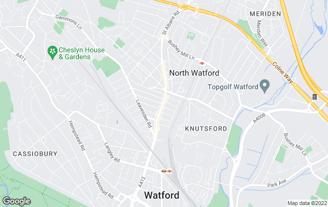 Map for Belvoir, Watford
