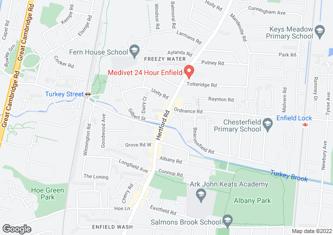 Map for Hertford Road, Enfield, EN3