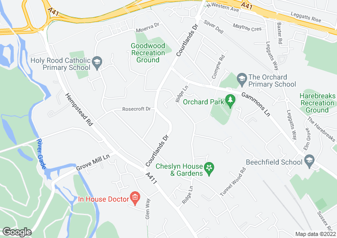 Map for Courtlands Drive, Watford, Herts