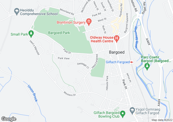 Map for Oakland Gardens, Bargoed, Caerphilly