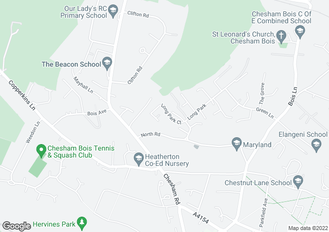 Map for Long Park Close, CHESHAM BOIS.