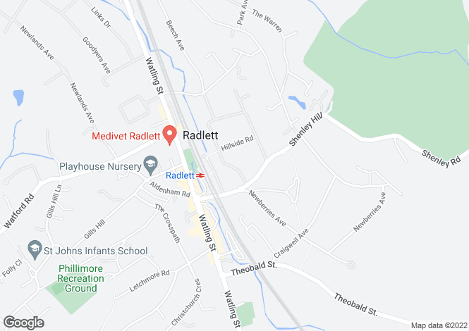 Map for Radlett Park Road, Radlett, Hertfordshire