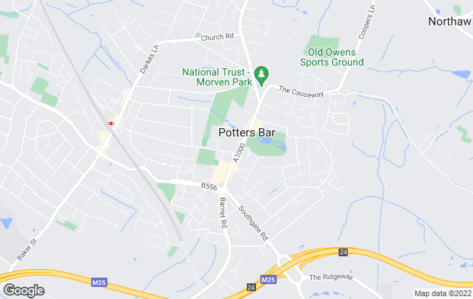 Map for Home Counties, Potters Bar