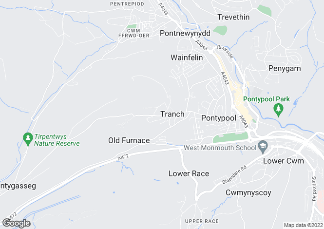 Map for 55 Tranch Road, PONTYPOOL, Torfaen