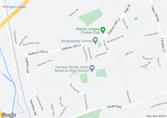 Map for Hazelwood Lane, Abbots Langley WD5