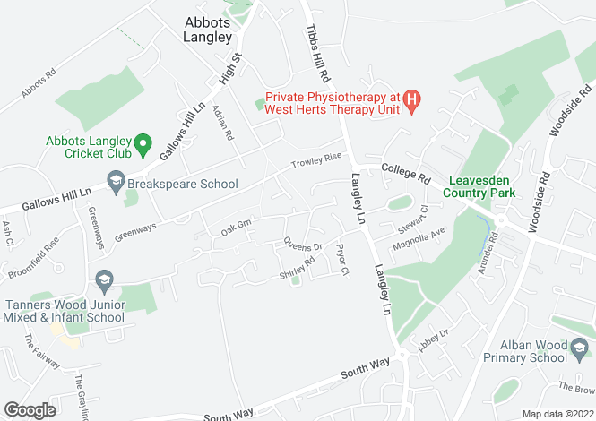 Map for Lancaster Way, ABBOTS LANGLEY, Hertfordshire