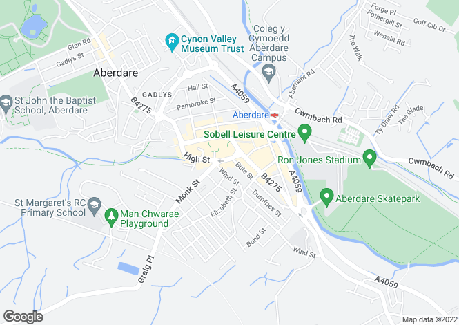 Map for 33 Victoria Square, Aberdare