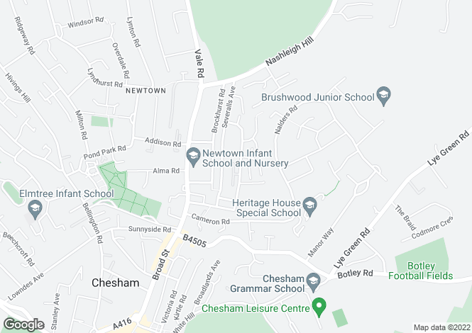 Map for Frances Street, Chesham