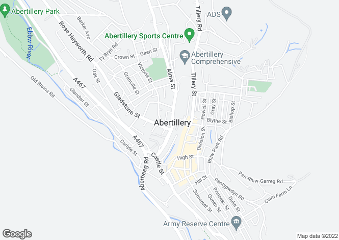 Map for Alma Street, Abertillery