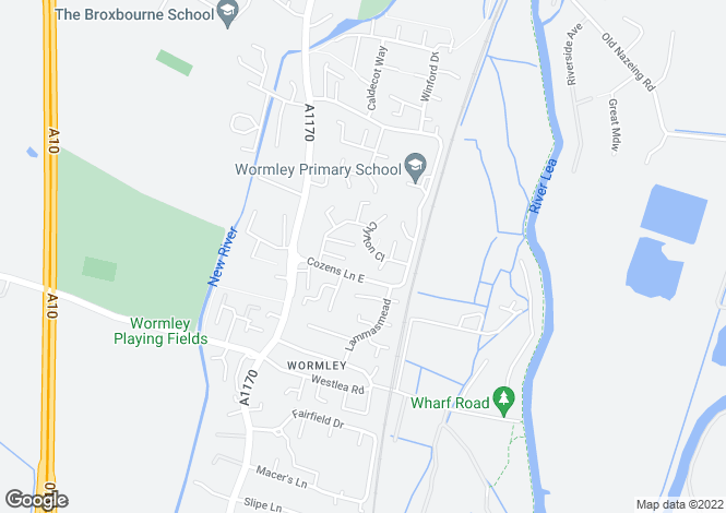 Map for Clyfton Close, Wormley, Hertfordshire