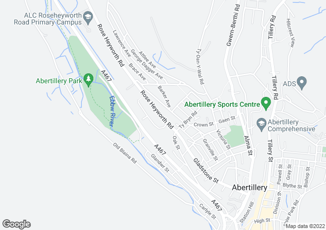Map for Rose Heyworth Road, Abertillery