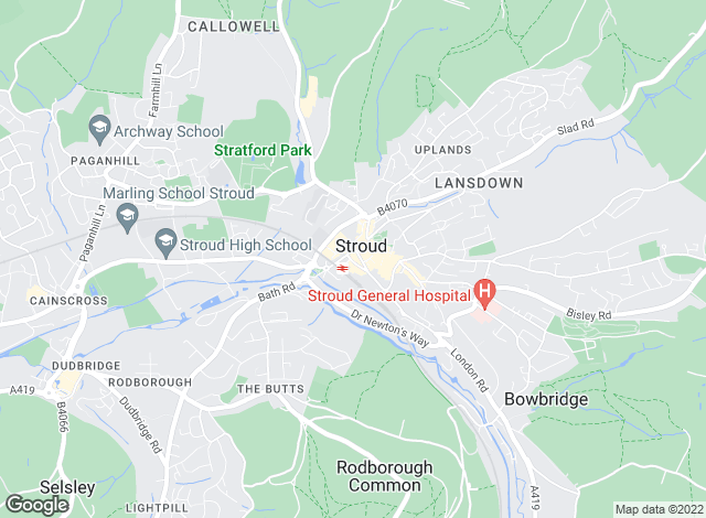 Map for Frowens Estate Agents, Stroud