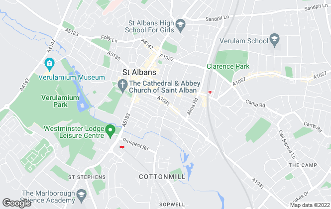 Map for Martin & Co, St. Albans - Lettings & Sales