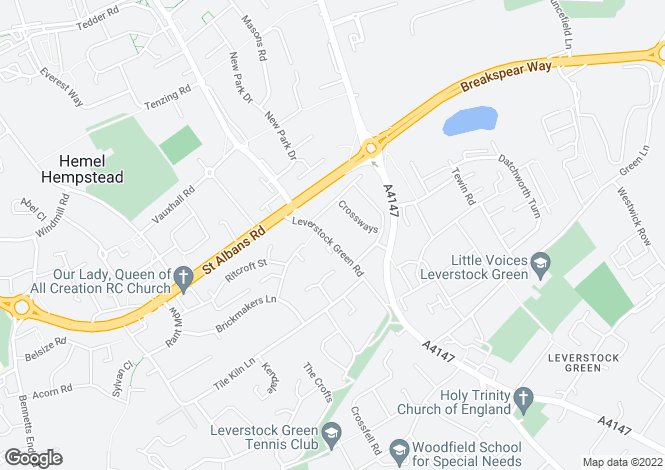 Map for Leverstock Green Road, Hemel Hempstead, Hertfordshire